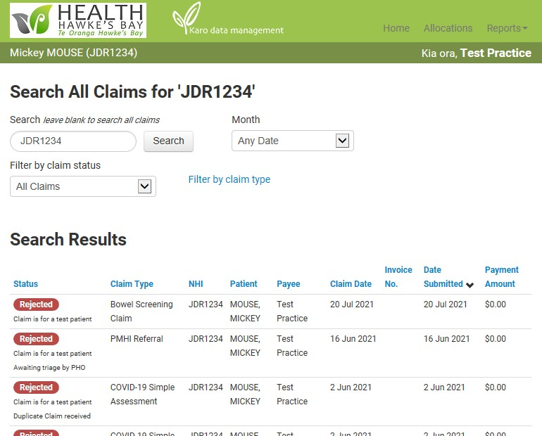 showing the claim status report